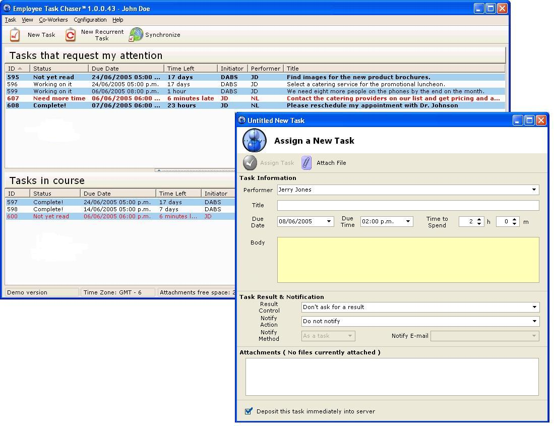 Employee Task Chaser 1.3 software screenshot
