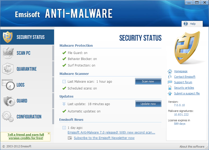 Emsisoft Anti-Malware 2017.4.0.7424 software screenshot