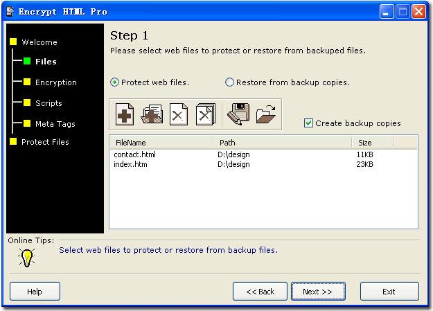 Encrypt HTML Pro 3.0 software screenshot