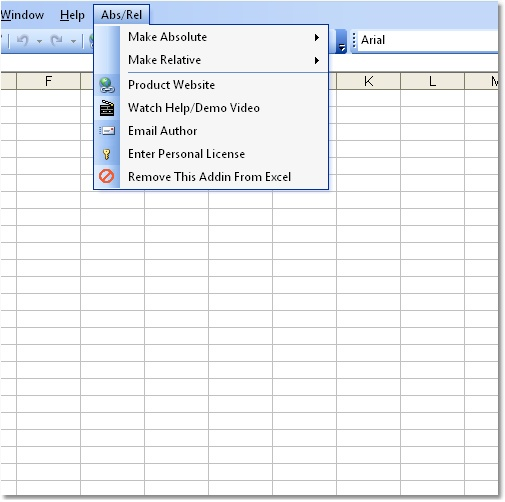 Excel Absolute Relative Reference Change Software 7.0 software screenshot
