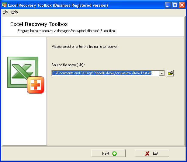Excel Recovery Toolbox 1.4.24 software screenshot