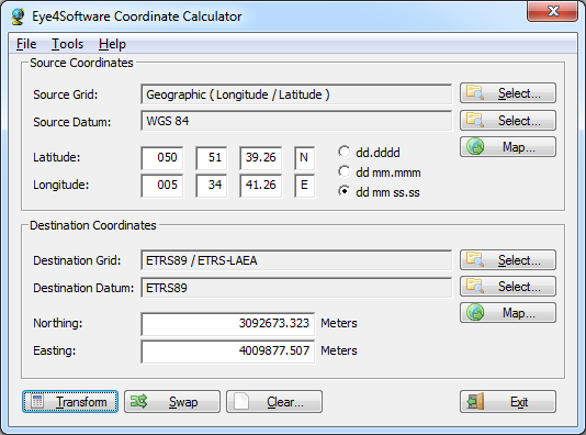 Eye4Software Coordinate Calculator 4.0.6.410 software screenshot