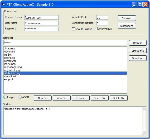 FTP Client ActiveX (OCX) 1.0 software screenshot