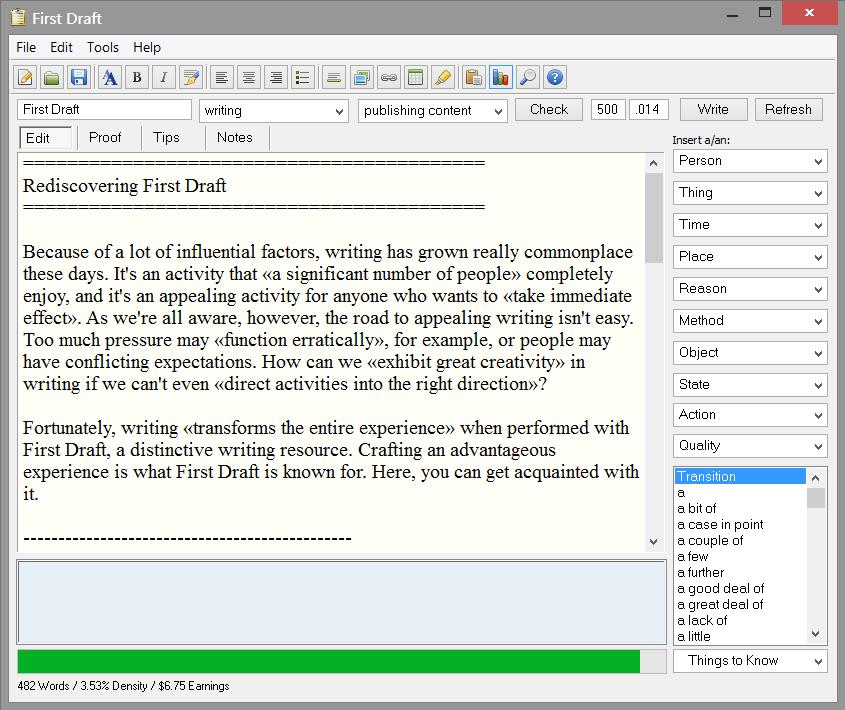 First Draft 4.5.9.20 software screenshot