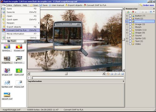 Flash SWF Decompiler 2.0 software screenshot