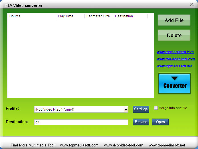 Free FLV to Palm Converter 4.0.03 software screenshot