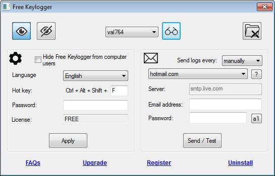 Free Keylogger 4.5.0.1 software screenshot