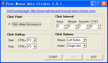 Free Mouse Auto Clicker 3.8.5 software screenshot