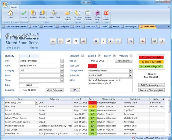 FreeXit 1.1 software screenshot