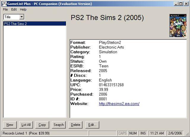 GameList Plus 4.5.9 software screenshot