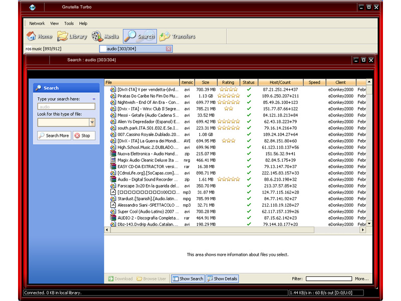 Gnutella Turbo 6.9.9 software screenshot