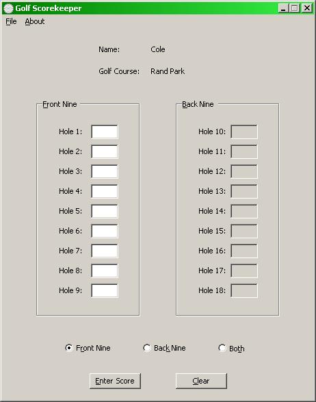 Golf Scorekeeper 1.0 software screenshot