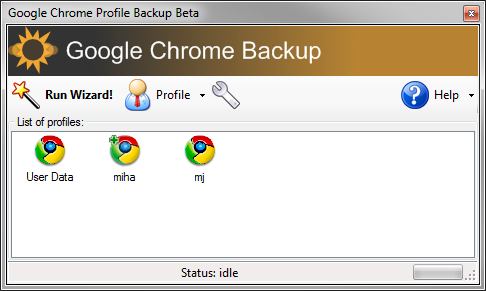 Google Chrome Backup 1.8.0.141 software screenshot