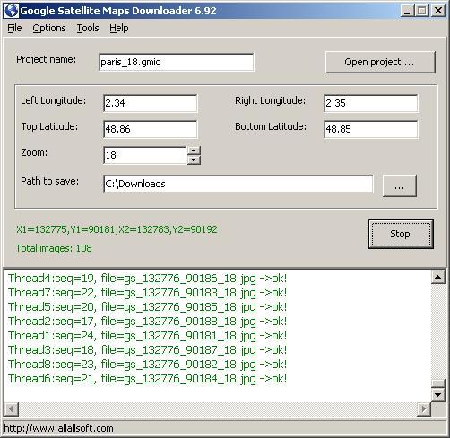 Google Satellite Maps Downloader 8.06 software screenshot