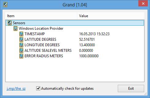 Grand 1.04 software screenshot