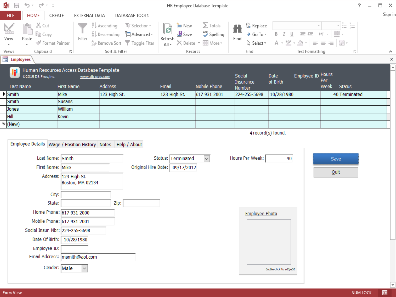 HR Employee Database Template 1.1.0 software screenshot