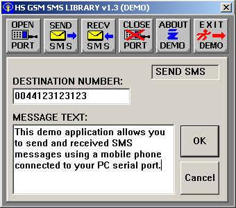 HS GSM SMS C Source Library 1.3 software screenshot