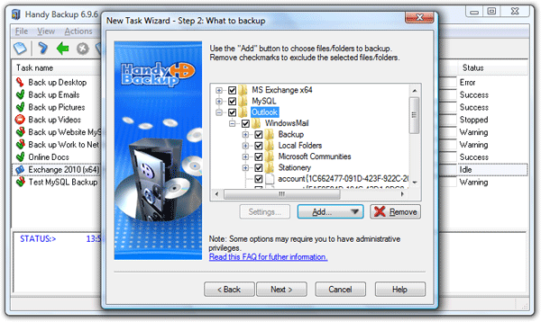 Handy Backup Server 7.3.3.11985 software screenshot