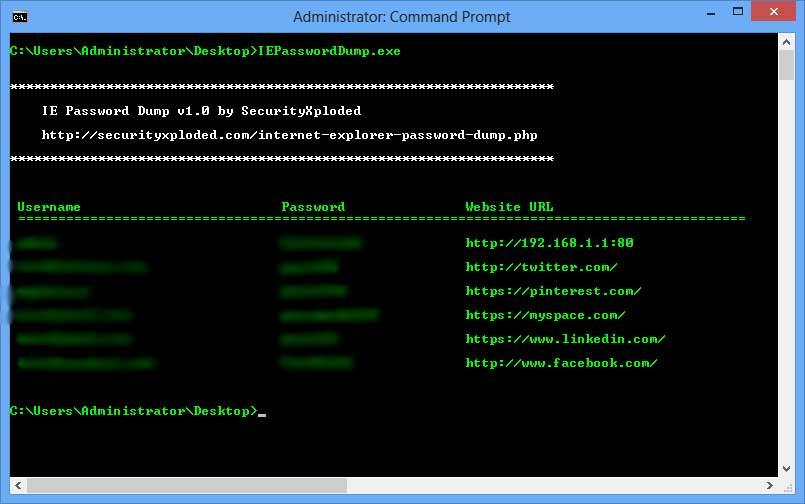 IE Password Dump 4.0 software screenshot