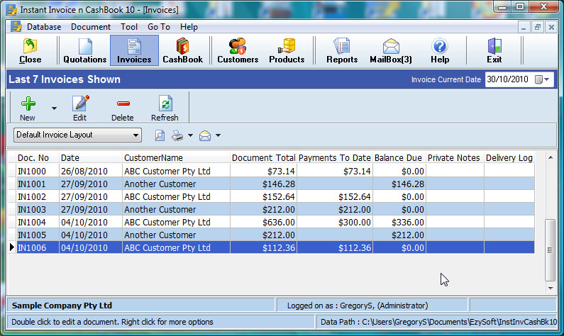 Instant Invoice n CashBook 10.7.1.16 software screenshot