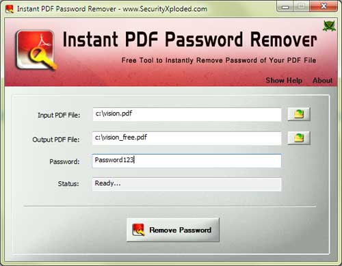 Instant PDF Password Remover 7.0 software screenshot