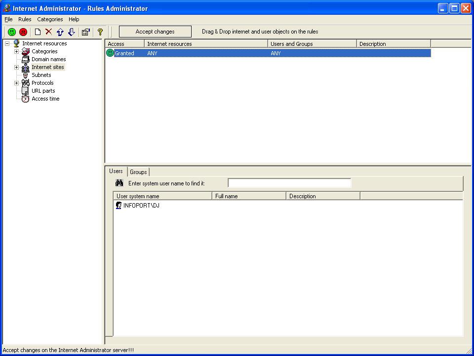 Internet Administrator 2.6 software screenshot
