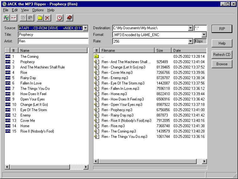 JACK the CD Ripper 2.01.001.0501 software screenshot