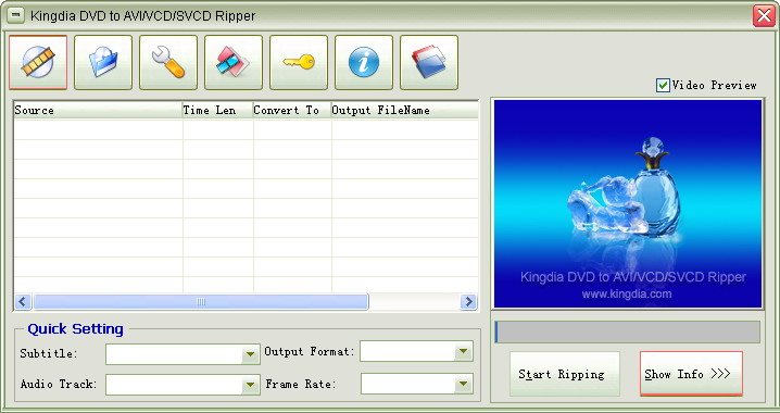 Kingdia DVD to AVI/VCD/SVCD Ripper 3.7.12 software screenshot