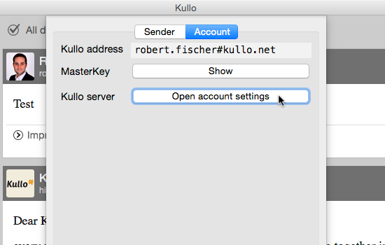 Kullo 53.0.0 software screenshot