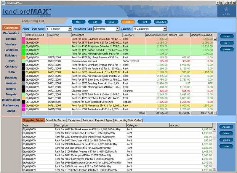 LandlordMax Property Management Software 6.05 software screenshot