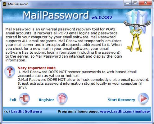 LastBit Mail Password Recovery 6.0.382 software screenshot