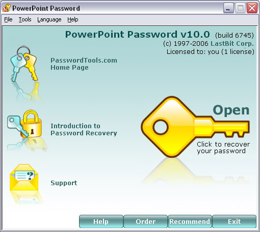 PowerPoint Password 17.5.9517 software screenshot