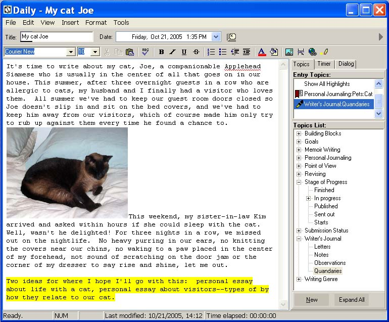 LifeJournal For Writers 2.01.06 software screenshot