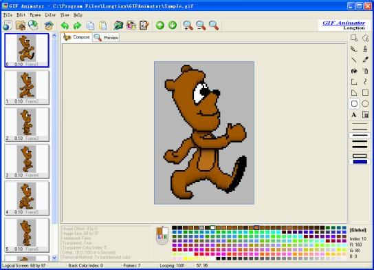 Longtion GIF Animator 5.0 software screenshot