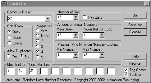 LotsaLotto 1.01 software screenshot