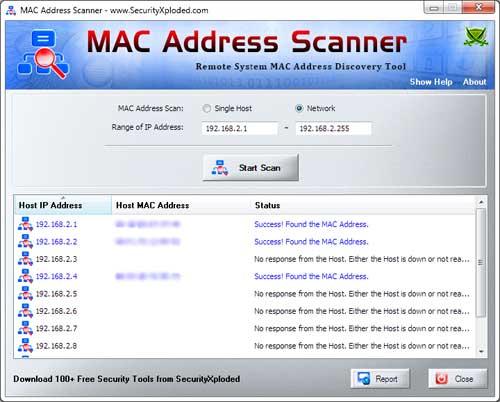 MAC Address Scanner 4.0 software screenshot