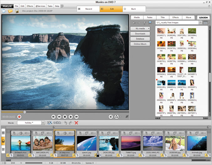 MAGIX Movies on DVD 7 software screenshot
