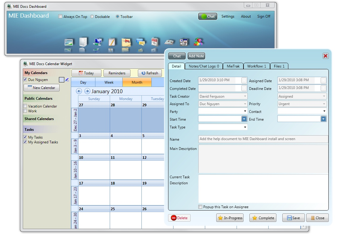 MIE Calendar 2010-2 software screenshot