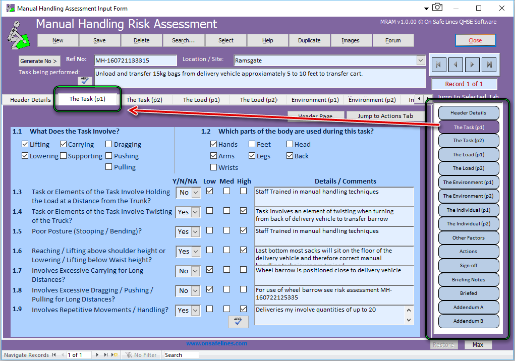 MRAM - Manual Handling Risk Assessment Management 1.1.02 software screenshot