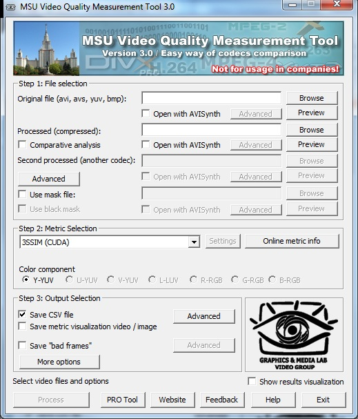 MSU Video Quality Measurement Tool 3.0 software screenshot