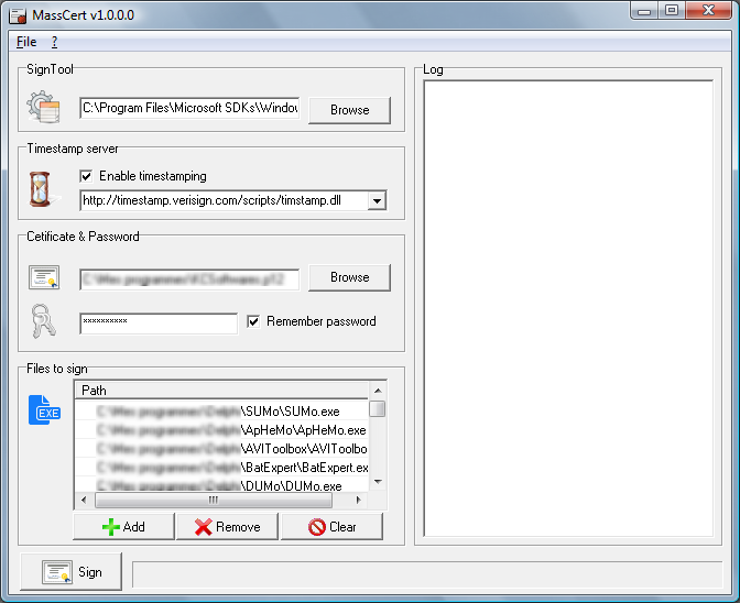 MassCert 1.4.1.6 software screenshot