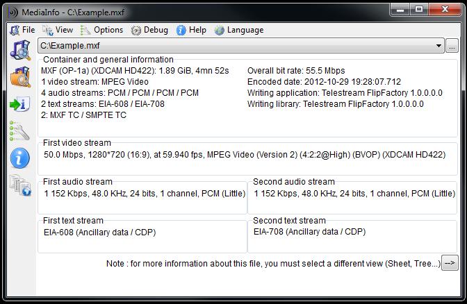 MediaInfo 0.7.97 software screenshot