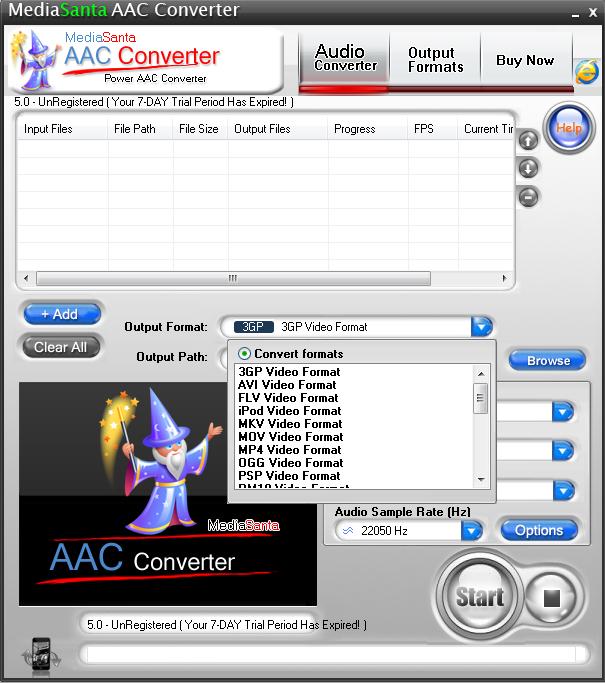 MediaSanta AAC Converter 5.0 software screenshot