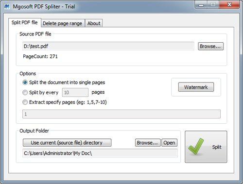 Mgosoft PDF Spliter 8.9.17 software screenshot
