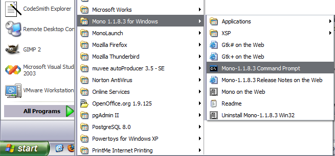 Mono for Windows 5.0.1.1 software screenshot