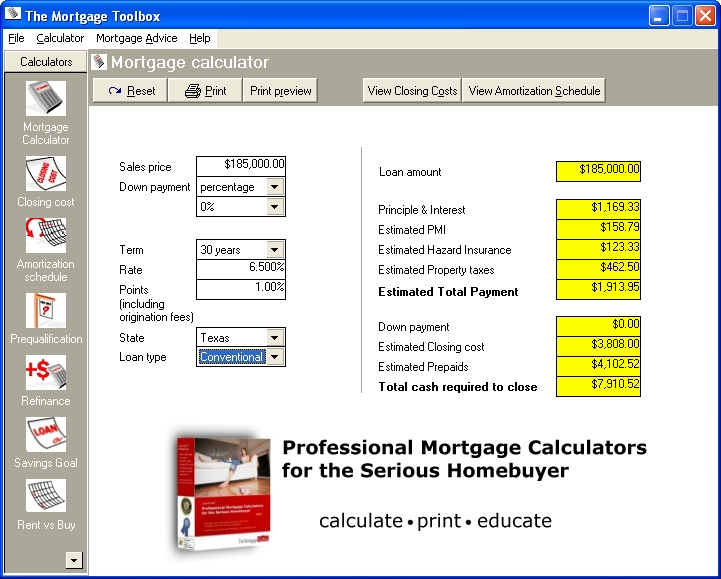 MortgageTools Professional 3.1.08 software screenshot