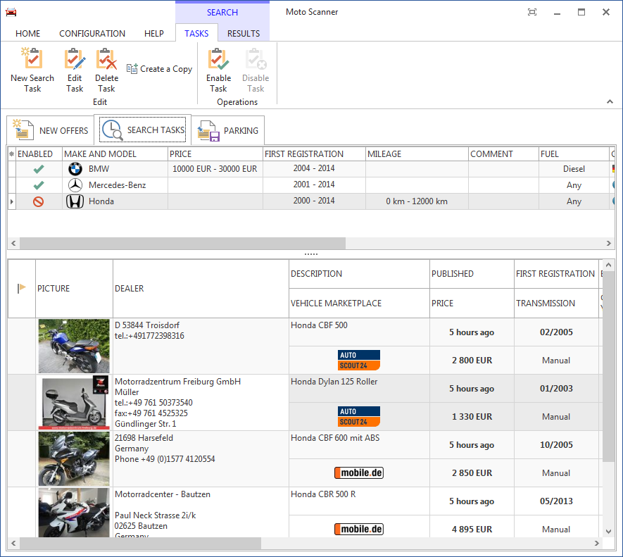 Moto Scanner 2.4.6 software screenshot