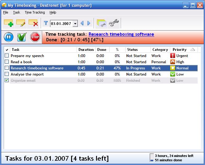 My Timeboxing 2.01 software screenshot