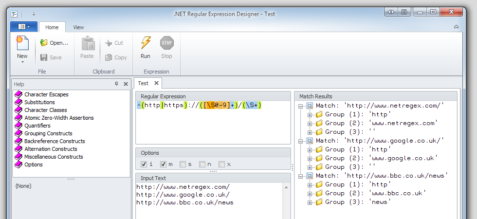.NET Regular Expression Designer 2.0.5920 software screenshot