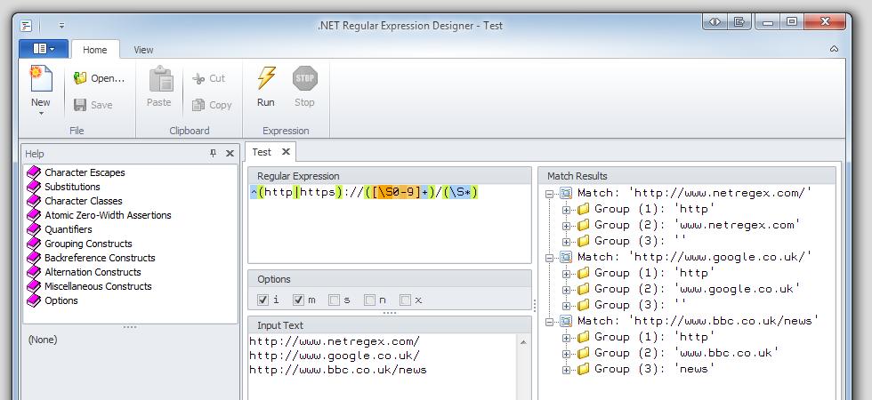 .NET Regular Expression Designer 2.0.5920 software screenshot